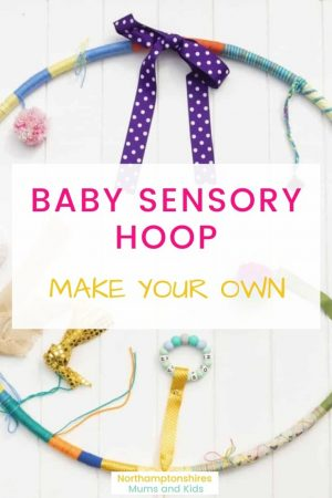 Easy to make Sensory hoop. It's a fun area for them to lie/ sit in and have different colours, textures, sounds and noises all within reach. www.northamptonshiremumsandkids.co.uk