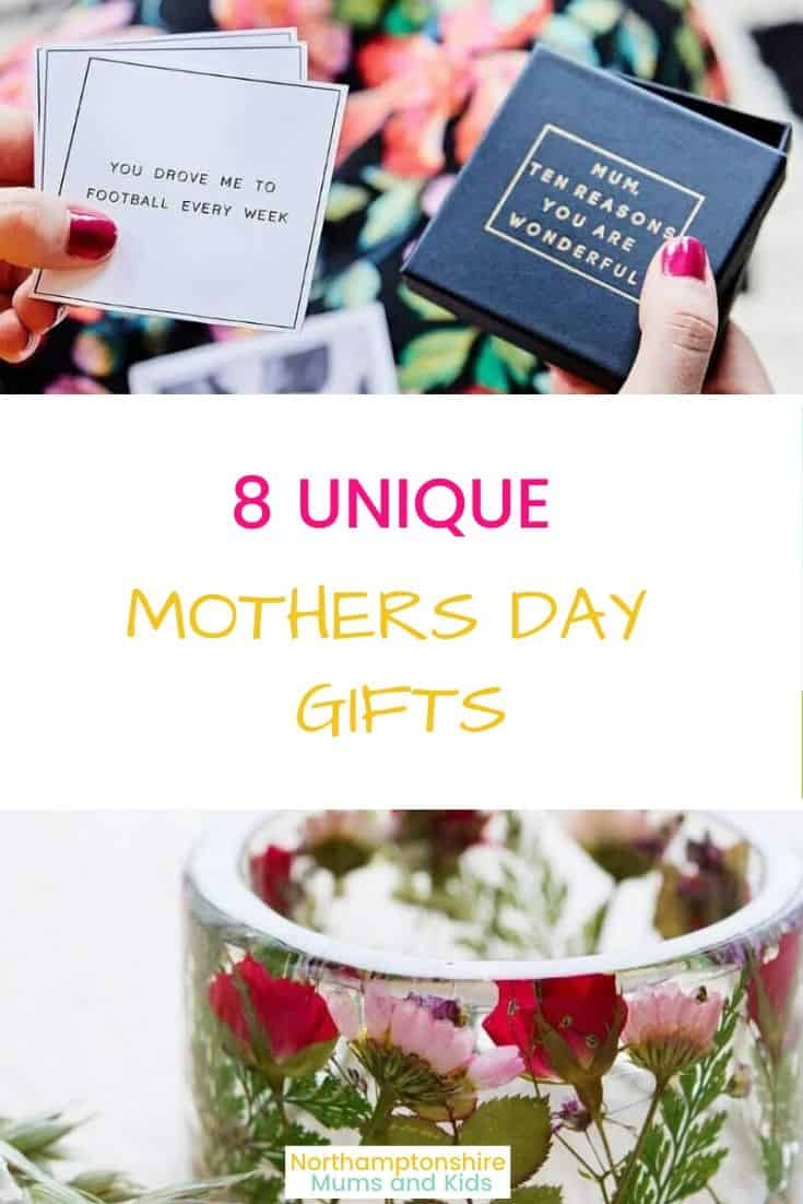 7 unique mothers day gifts that make a change from a typical bunch of flowers. Some can be personalised, all suit any budget. For more realistic parenting visit www.northamptonshiremumsandkids.co.uk
