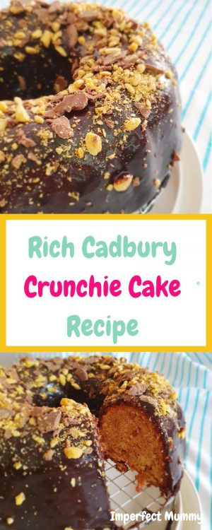 What could be better than chocolate cake? Chocolate crunchie cake that's what! This cake is deliciously moist with the added delight of a little crunch.