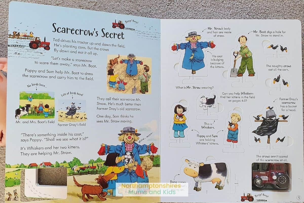 Poppy & Sam's wind-up tractor book is a great activity book for kids who love the tales of Apple Tree Farm. With built in track, cutouts and tractor
