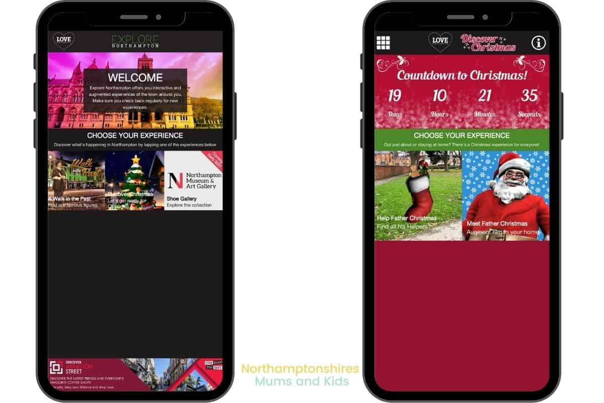 The explore Northampton App takes you on Augmented reality trails around town and even brings Santa to your living room. For more check out www.northamptonshiremumsandkids.co.uk